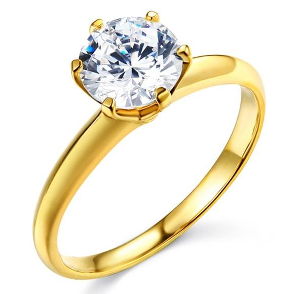 Tgdj Jewelry Ct 14k Yellow Gold Cubic Zirconia Solitaire Ring Poshmark